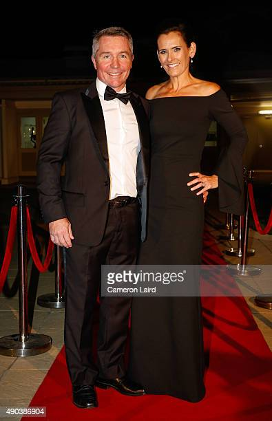 Paul Green and wife Amanda Green on the red carpet ahead of the Dally M Awards satellite function at Jupiters Casino on September 28 2015 in...