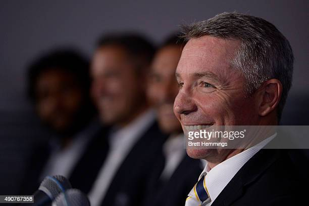 Paul Green coach of the Cowboys looks on during the official 2015 NRL Grand Final press conference at The Star Room on October 1 2015 in Sydney...