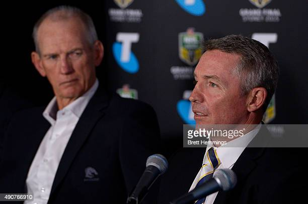 Paul Green coach of the Cowboys speaks to the media during the official 2015 NRL Grand Final press conference at The Star Room on October 1 2015 in...