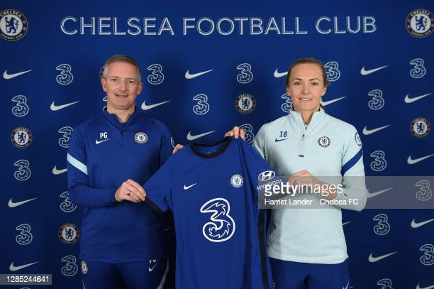 Paul Green, General Manager of Chelsea, and Magdalena Eriksson of Chelsea pose for a photo as Magdalena Eriksson signs a new contract with Chelsea FC...