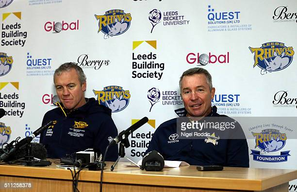 Paul Green head coach of North Queensland Cowboys and Brian McDermott Head coach oif Leeds Rhinos during a press conference at Headingley Carnegie...