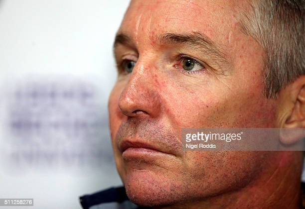 Paul Green head coach of North Queensland Cowboys speaks during a press conference at Headingley Carnegie Stadium on February 19 2016 in Leeds...