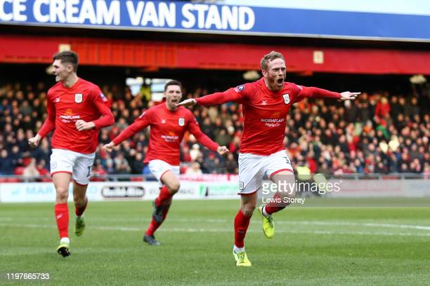 Paul Green of Crewe Alexandra celebrates scoring his sides first goal during the FA Cup Third Round match between Crewe Alexandra and Barnsley at...