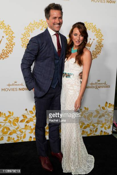 Paul Greene and Kate Austin attend Hallmark Channel And Hallmark Movies And Mysteries 2019 Winter TCA Tour at Tournament House on February 09 2019 in...
