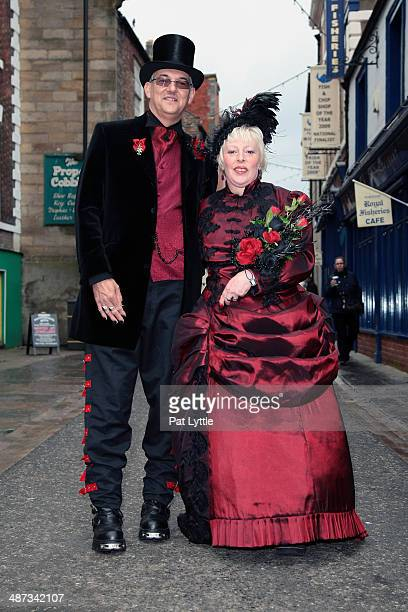 Paul Greenfield and Anne Greenfield from Kings Lynn Paul wears a top hat velvet jacket with red cravat and waistcoat buckled trousers with New Rock...