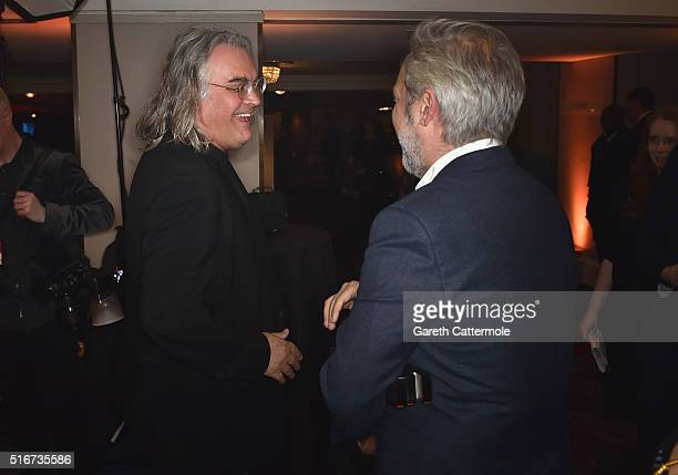Paul Greengrass and Sam Mendes in the winners room at the Jameson Empire Awards 2016 at The Grosvenor House Hotel on March 20 2016 in London England