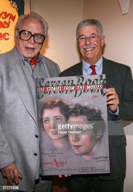 Paul Gregory Janet Gaynor's Widower and Robin Adrian Son of Gaynor pose at the Academy of Motion Picture Arts and Sciences' Centennial Salute to...