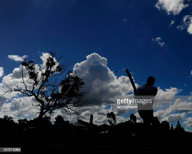 Paul Grey from the team 'Goat Herders' bats during the 2012 Goldfield Ashes cricket competition on January 22 2012 in Charters Towers Australia Every...