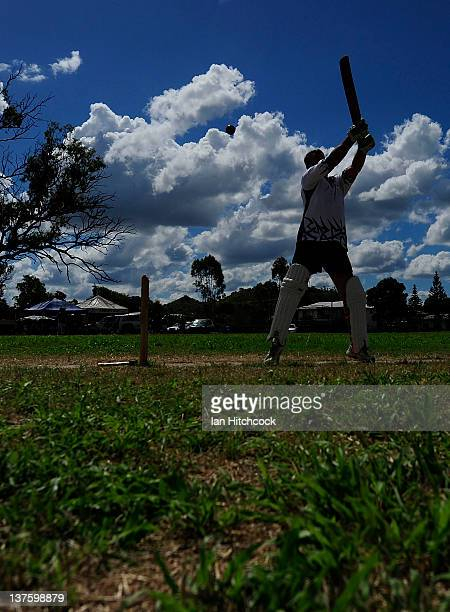 Paul Grey from the team 'Goat Herders' bats during the 2012 Goldfield Ashes cricket competition on January 21 2012 in Charters Towers Australia Every...