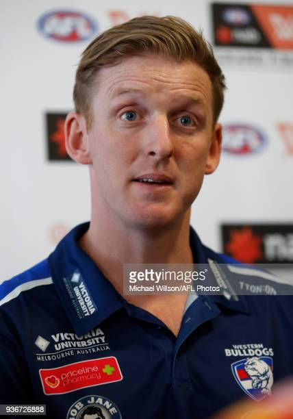 Paul Groves Senior Coach of the Bulldogs speaks to the media during the AFLW Grand Final media opportunity at Ikon Park on March 23 2018 in Melbourne...