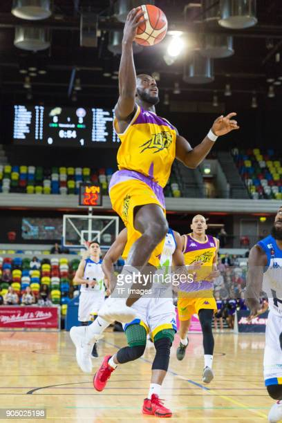 Paul Guede of London Lions in action during the British Basketball League match between London Lions and Cheshire Phoenix at Copper Box Arena on...