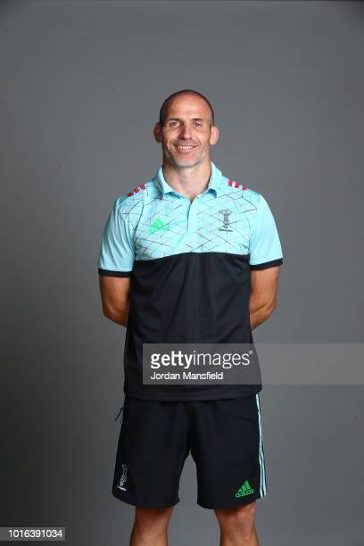 Paul Gustard Head Coach of Harlequins poses for a portrait during the Harlequins squad photo call for the 201819 Gallagher Premiership Rugby season...