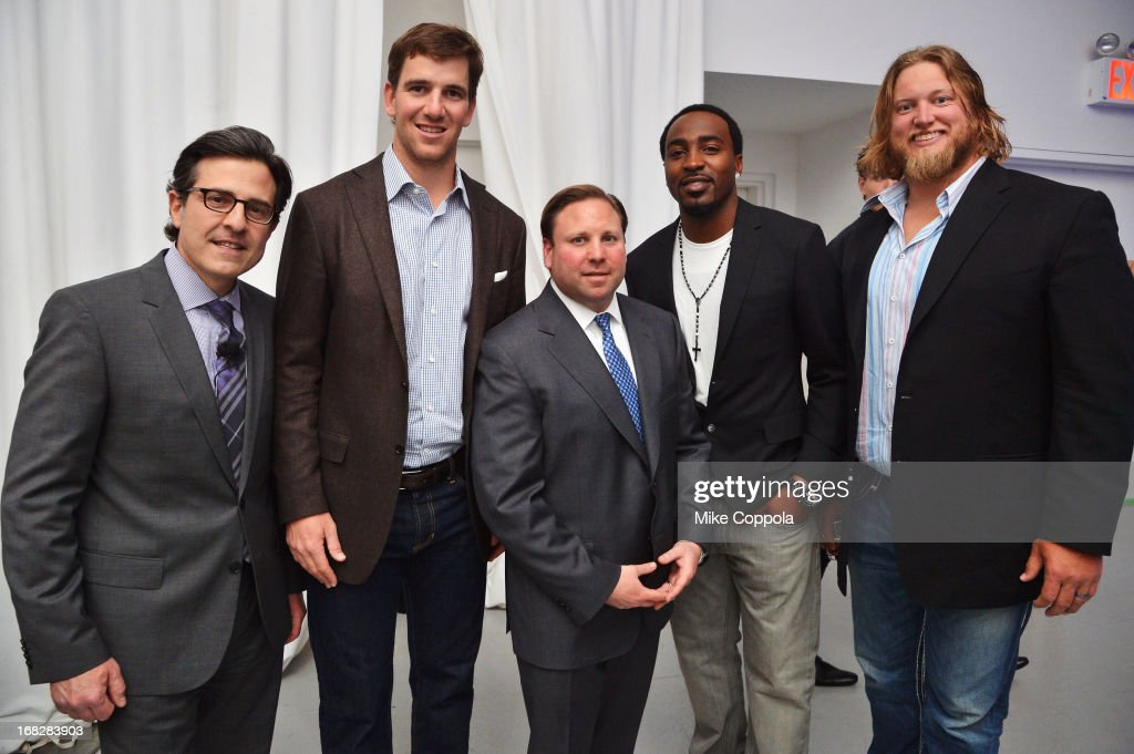 Paul Guyardo, Eli Manning, Keith Kazerman, Hakeem Nicks and Nick Mangold attend DIRECTV's 2013 National Ad Sales Upfront on May 7, 2013 in New York City.