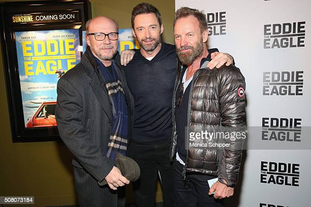 Paul Haggis Hugh Jackman and Sting attend the Eddie The Eagle Screening at Landmark Sunshine Theater on February 2 2016 in New York City