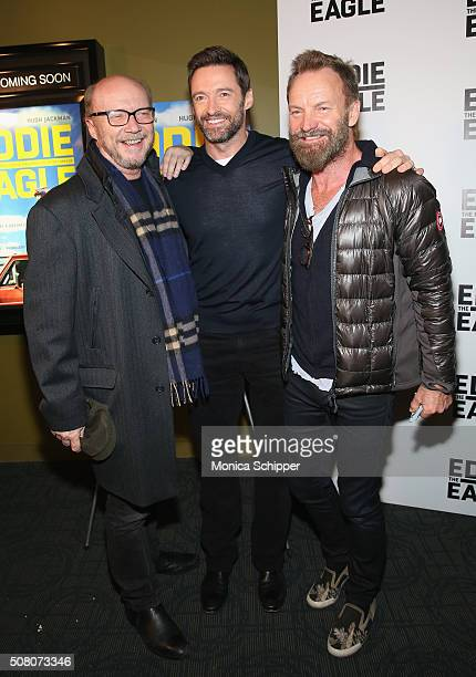 Paul Haggis Hugh Jackman and Sting attend the 'Eddie The Eagle' Screening at Landmark Sunshine Theater on February 2 2016 in New York City