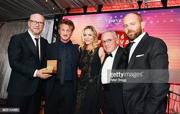 Paul Haggis Sean Penn Maria Bello Mr Raffy and CEO APJ David Belle attend The Artists For Peace and Justice Gala at Casa Loma on September 11 2016 in...
