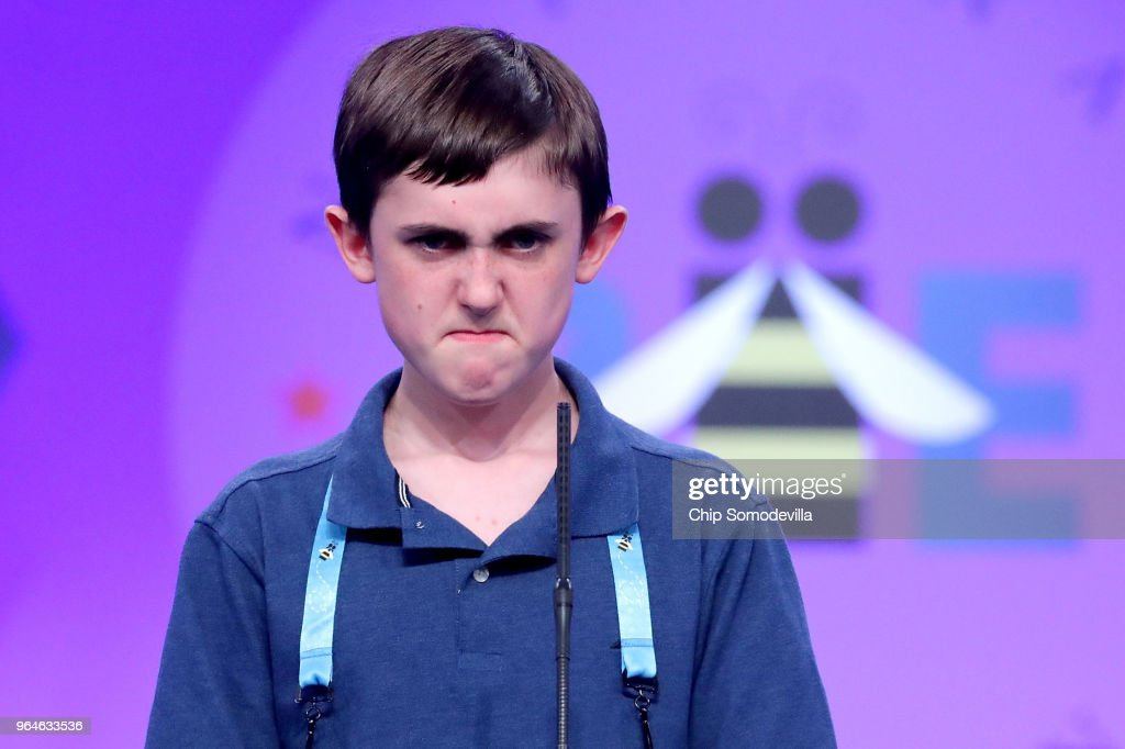 Paul Hamrick successfully spells the word 'binnacle' during the final rounds of the 91st Scripps National Spelling Bee at the Gaylord National Resort and Convention Center May 31, 2018 in National Harbor, Maryland. Forty one finalists were selected to participate in the final day after a record 516 spellers were officially invited, up from 291 in 2017 .