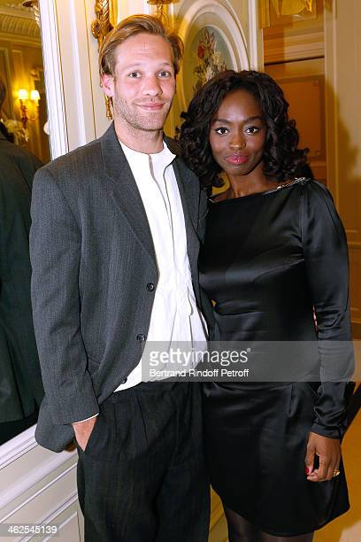 Paul Hamy and actress Aissa Maiga at the Chaumet's Cocktail Party for Cesar's Revelations 2014 at Musee Chaumet followed by a dinner at Hotel Meurice...