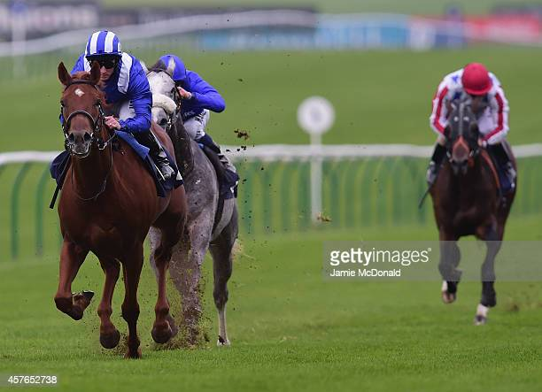 Paul Hanagan rides Fannaan to win the AR Legal Collections Houghton Conditions Stakes at Newmarket Racecourse on October 22 2014 in Newmarket England