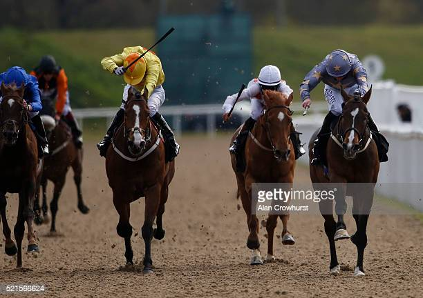 Paul Hanagan riding Gabrial's Kaka win The Betfred Download The Mobile App Spring Cup at Chelmsford racecourse on April 16 2016 in Chelmsford England