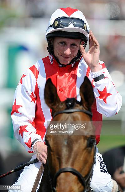 Paul Hanagan riding Glen's Diamond smiles after winning the Addleshaw Goddard Dee Stakes at Chester racecourse on May 06 2011 in Chester England
