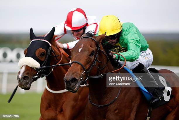 Paul Hanagan riding Scrutinise win The Universal Meats Chicken Stakes at Goodwood racecourse on September 23 2015 in Chichester England