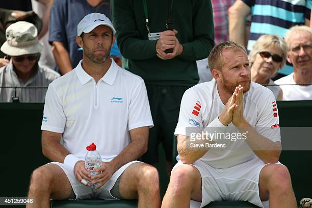 Paul Hanley of Australia and Lukas Dlouhy of Czech Republic during their Gentlemen's Doubles first round match against Santiago Gonzalez of Mexico...