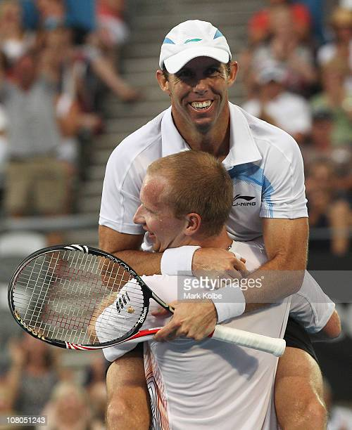 Paul Hanley of the Australia and Lukas Dlouhy of the Czech Republic celebrate winning their men's doubles final match against Bob Bryan and Mike...