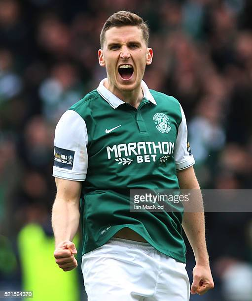 Paul Hanlon of Hibernian celebrates scoring a penalty during the penalty shoot out during the Scottish Cup Semi Final between Hibernian and Dundee...