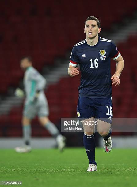 Paul Hanlon of Scotland is seen as he makes his debut during the UEFA Nations League group stage match between Scotland and Czech Republic at Hampden...