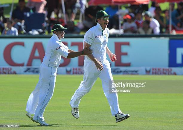 Paul Harris of South Africa takes the catch to get the wicket of Gautam Gambhir of India for 5 runs off Morne Morkel of South Africa during day 1 of...