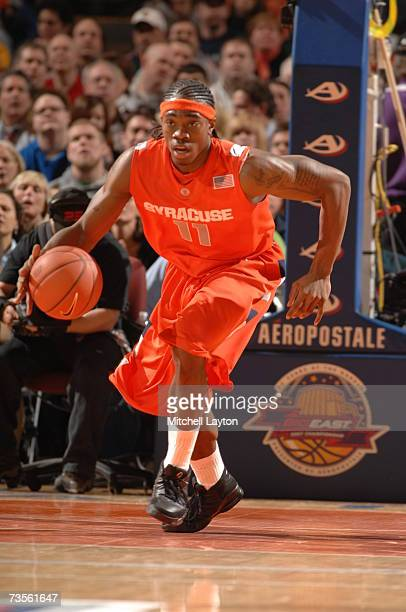Paul Harris of Syracuse Orange dribbles up court during a game against the Notre Dame Fighting Irish in the Big East College Basketball Tournament...