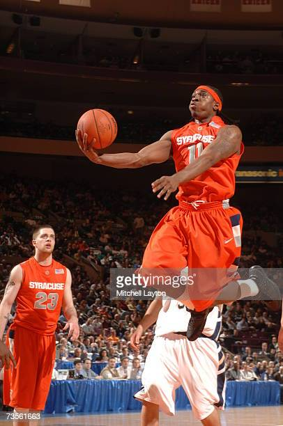 Paul Harris of Syracuse Orange takes a shot during a game against the Notre Dame Fighting Irish in the Big East College Basketball Tournament...