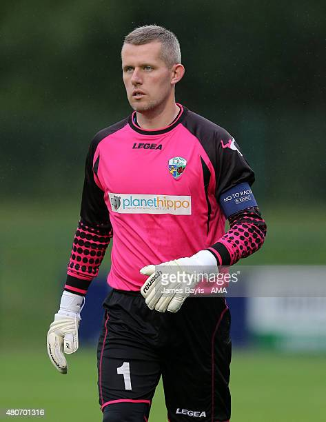Paul Harrison of The New Saints during the UEFA Champions League Qualifier between TNS and Videoton at Park Hall on July 14 2015 in Oswestry England