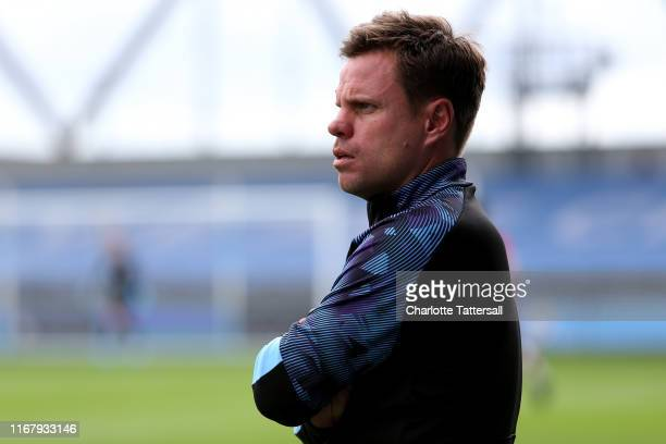 Paul Harsley head coach of Manchester City U23's looks on during the Premier League 2 match between Manchester City and Southampton at The Academy...