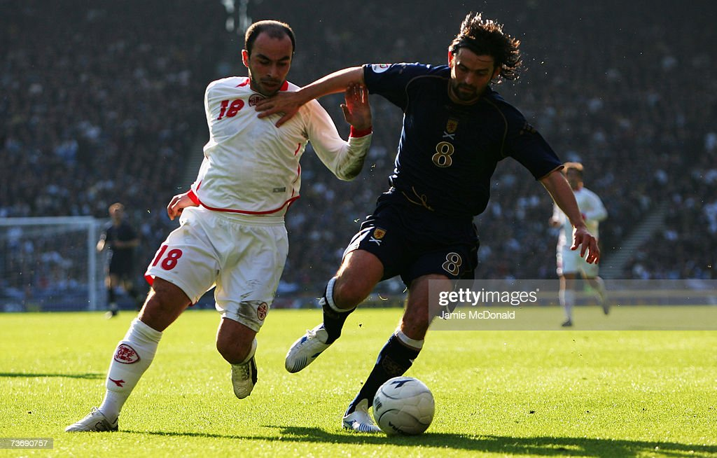 Paul Hartley of Scotland battles with Zurab Menteshashvili of Georgia during the Euro2008, Group B, qualifier between Scotland and Georgia on March 24, 2007 at Hampden Park, Glasgow, Scotland.