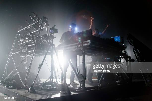 Paul Hartnoll and Phil Hartnoll of Orbital performs on stage at Manchester Academy on April 5, 2012 in Manchester, United Kingdom.