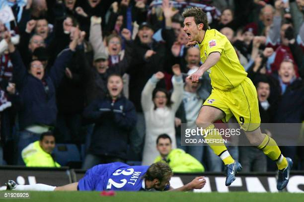 Paul Hayes of Scunthorpe celebrates his goal after scoring against Chelsea during their FA cup third round match at Stamford Bridge in west London 08...