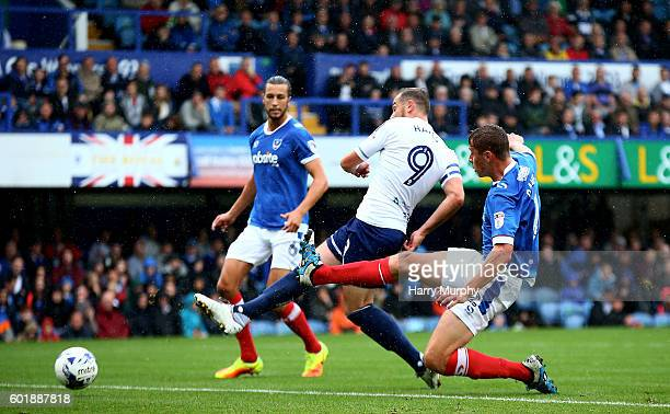 Paul Hayes of Wycombe scores during the Sky Bet League Two match between Portsmouth and Wycombe Wanderers at Fratton Park on September 10 2016 in...