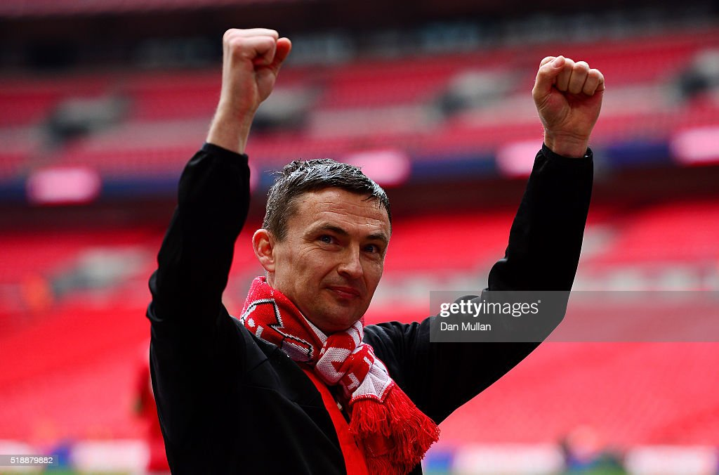 Paul Heckingbottom, Caretaker Manager of Barnsley celebrates following his side's victory during the Johnstone's Paint Trophy Final between Oxford United and Barnsley at Wembley Stadium on April 3, 2016 in London, England.