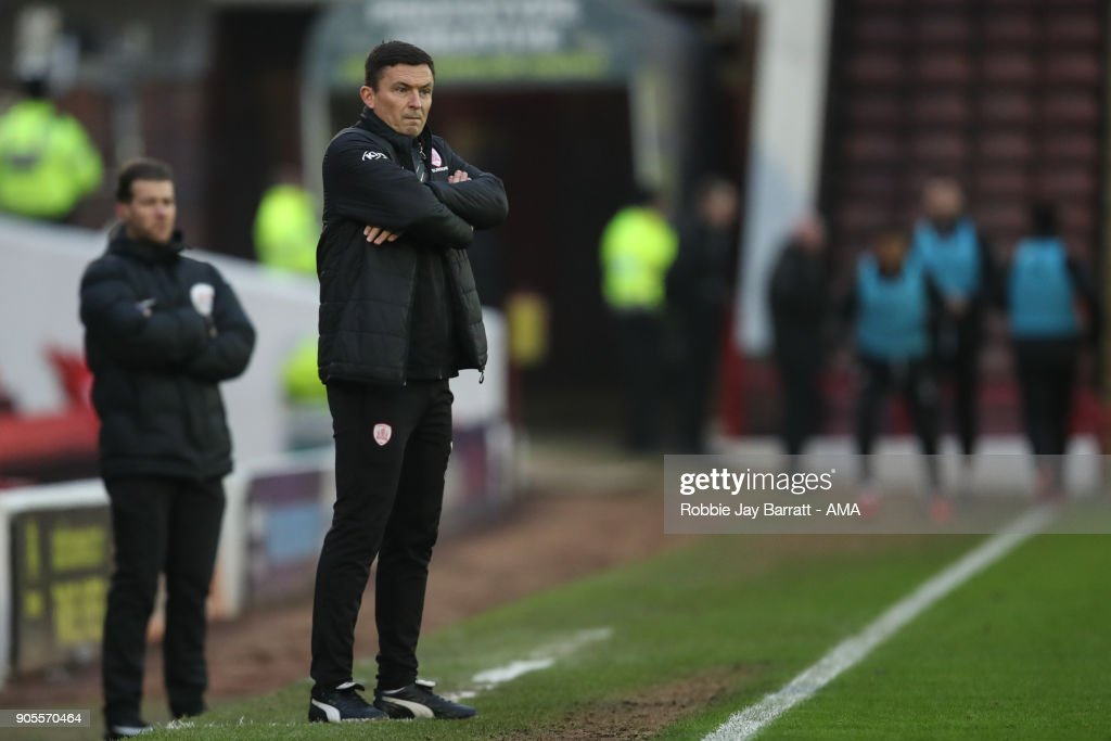 Paul Heckingbottom head coach / manager of Barnsley during the Sky Bet Championship match between Barnsley and Wolverhampton at Oakwell Stadium on January 13, 2018 in Barnsley, England.