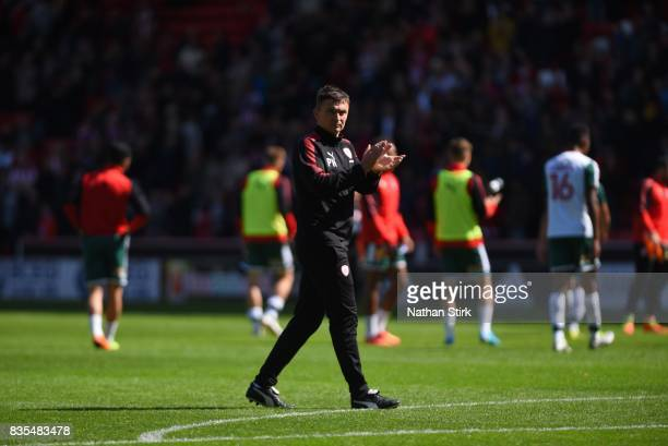 Paul Heckingbottom manager of Barnsley claps the fans after the Sky Bet Championship match between Sheffield United and Barnsley at Bramall Lane on...
