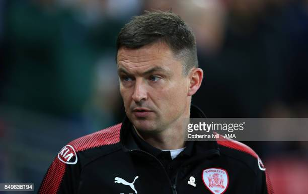 Paul Heckingbottom manager of Barnsley during the Carabao Cup Third Round match between Tottenham Hotspur and Barnsley at Wembley Stadium on...