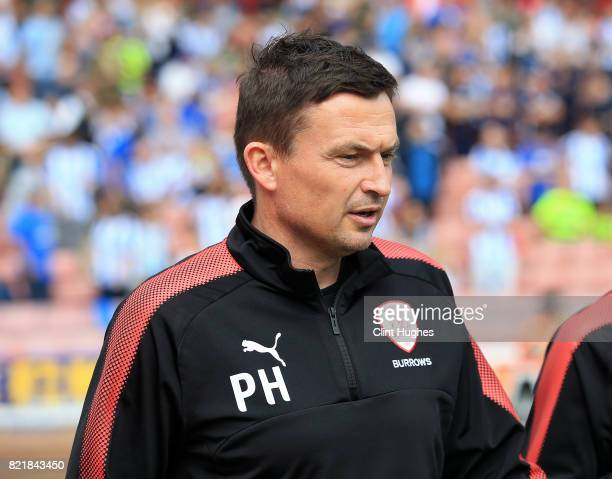 Paul Heckingbottom manager of Barnsley during the pre season friendly at Oakwell Stadium between Barnsley and Huddersfield Town on July 22 2017 in...