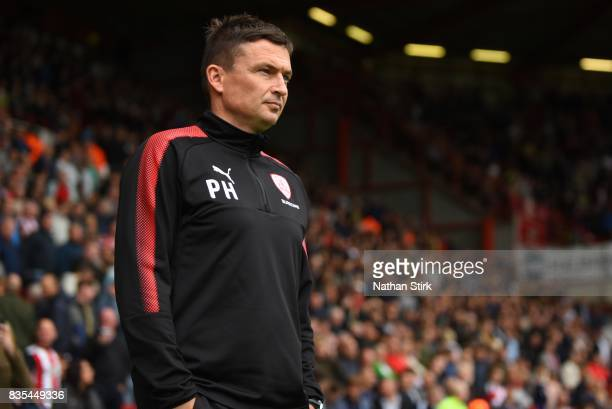 Paul Heckingbottom manager of Barnsley looks on during the Sky Bet Championship match between Sheffield United and Barnsley at Bramall Lane on August...