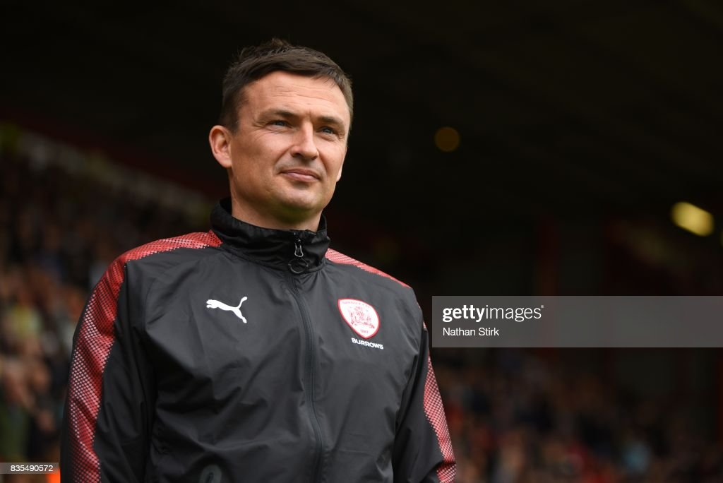 Paul Heckingbottom manager of Barnsley looks on during the Sky Bet Championship match between Sheffield United and Barnsley at Bramall Lane on August 19, 2017 in Sheffield, England.