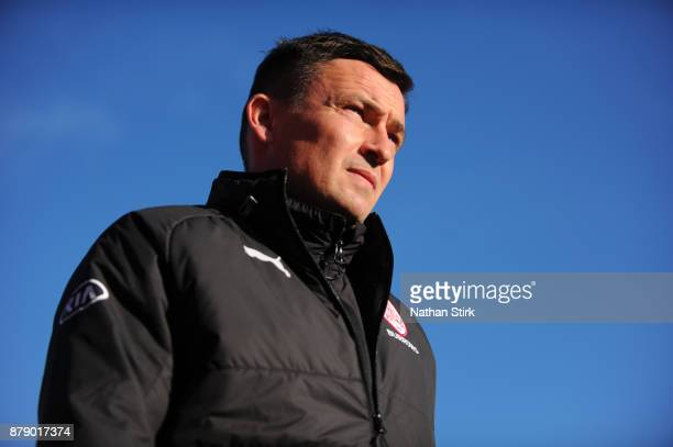 Paul Heckingbottom manager of Barnsley looks on during the Sky Bet Championship match between Barnsley and Leeds United at Oakwell Stadium on...