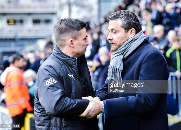Paul Heckingbottom manager of Barnsley shook hands with Fulham manager Slavi_a Jokanovic_ during Sky Bet Championship match between Fulham against...