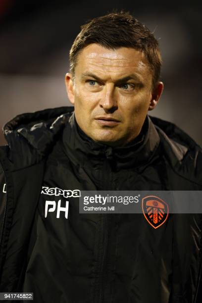 Paul Heckingbottom manager of Leeds United during the Sky Bet Championship match between Fulham and Leeds United at Craven Cottage on April 3 2018 in...