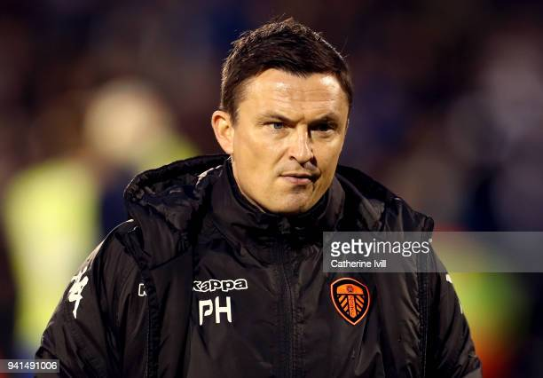 Paul Heckingbottom Manager of Leeds United looks on prior to the Sky Bet Championship match between Fulham and Leeds United at Craven Cottage on...